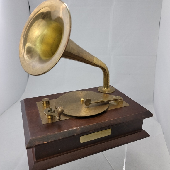 Enesco Victrola Shaped Brass and Wood Music Box